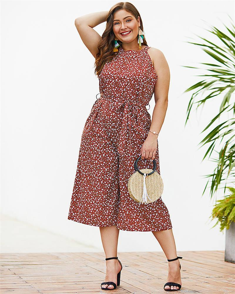 Comprimento impresso Womens Jumpsuit Summer Holiday completa Womens Plus Size mangas Jumpsuit Casual Feminino Vestuário Floral