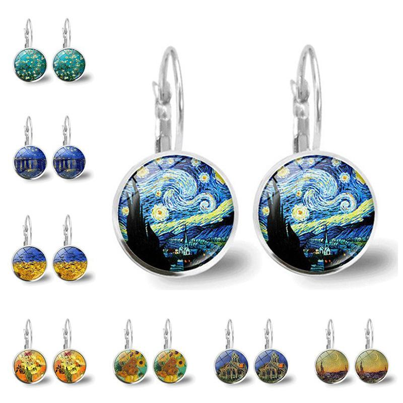 Mode Van Gogh-Ohrringe Silber-Farben-einfache Art-Ohr-Stulpe berühmten Künstlers Starry Night-Bolzen-Ohrringe Glascabochon Schmuck Frauen Geschenke