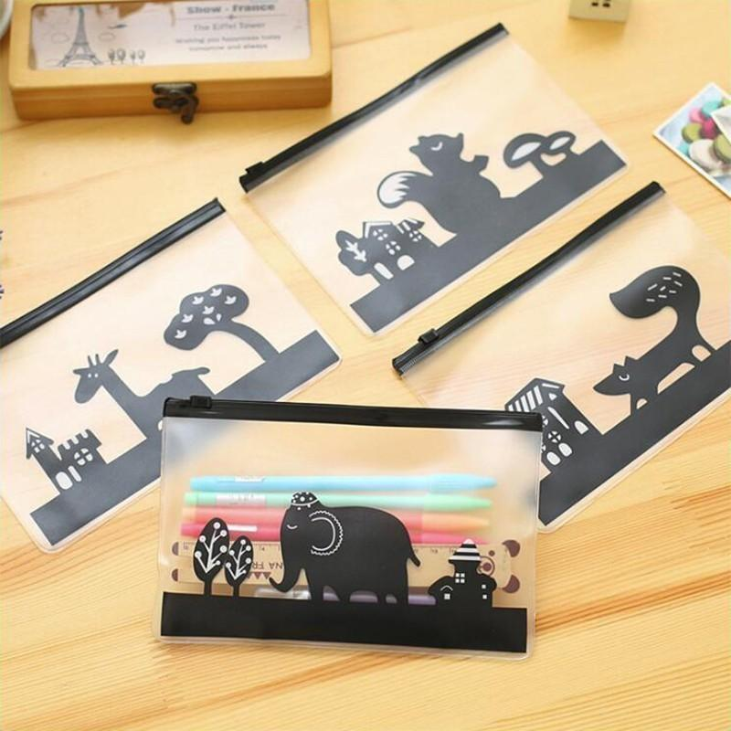 Transparent Black Animal Pattern Pencil Case Office Stationery and School Supplies High Capacity Plastic Pencil Bag 1PCS