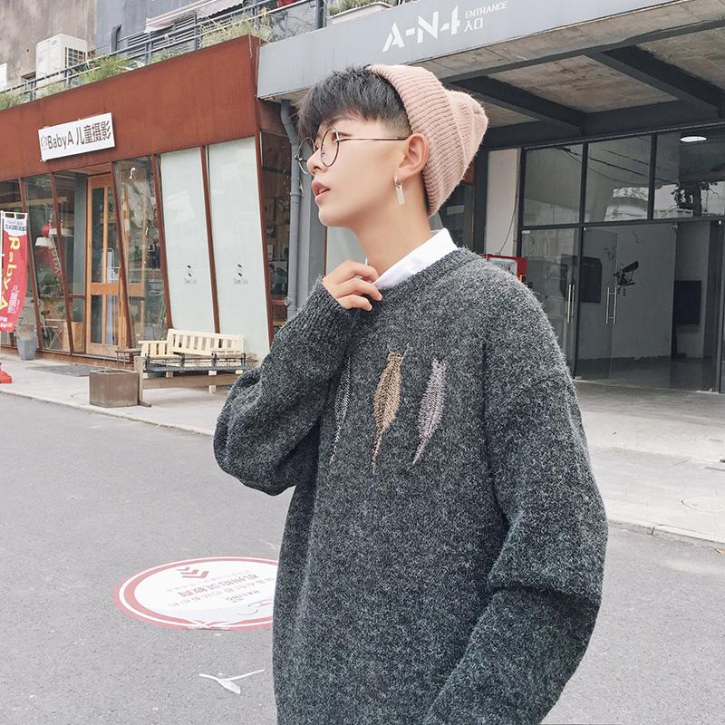 2019 Autumn New Japanese Loose Youth Korean Fashion Men's Round Neck Pullover Casual Long-sleeved Large Size Sweater