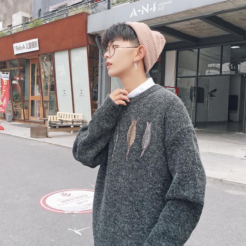 2019 Sonbahar Yeni Japon Gevşek Gençlik Kore Moda Erkekler Yuvarlak Yaka Kazak Casual Uzun kollu Büyük Beden Triko