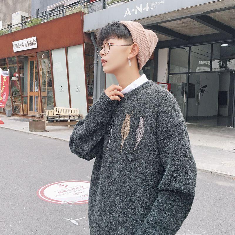 2019 homens da forma do outono New japonês frouxo Juventude coreana em torno do pescoço pulôver ocasional de mangas compridas Grande camisola Tamanho