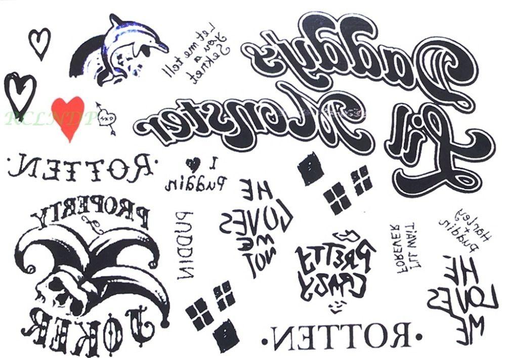 Waterproof Temporary Tattoo Sticker Suicide Squad Harley Quinn Joker Clown Tatto Flash Tatoo Fake For Men Girl Women D19011202 Tattoos For Men Tattos