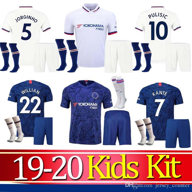 2019 2020 Enfants Kit KANTE LAMPARD ODOI PULISIC jersey soccer JOUE BOYS 19 20 mis Jorginho GIROUD kits de maillot manches courtes football enfant chemise