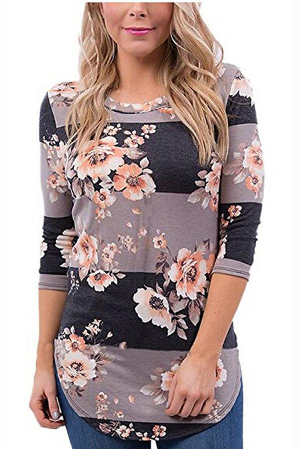 Rayada remiendo resorte de la nueva manera de las mujeres florales de manga larga de algodón sueltos camiseta de las tapas de las mujeres ocasionales flojos ropa