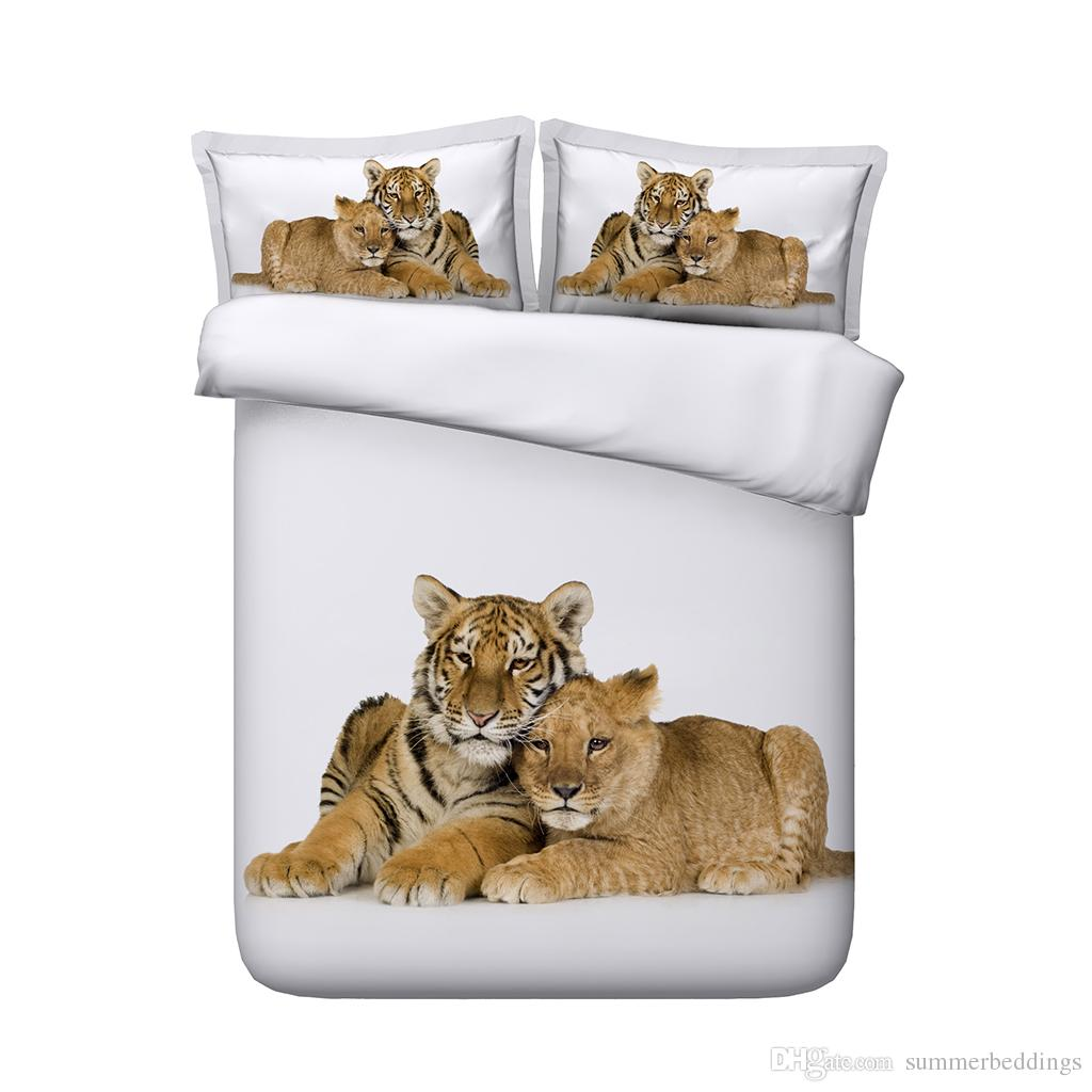 DOUBLE /& KING TIGER HORSES LEOPARD PHOTO PRINT ANIMAL DUVET COVERS SINGLE
