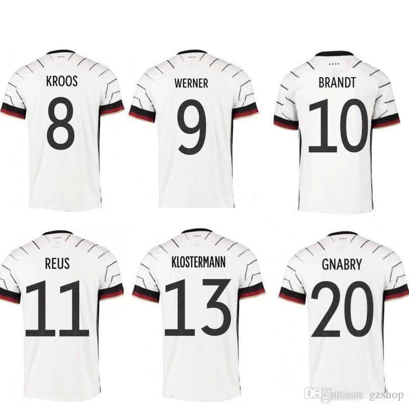 2020 독일 축구 유니폼 HUMMELS KROOS 드락 슬러 레 우스 MULLER GOTZE 축구 셔츠 아이 남성 유니폼 홈 축구 정상