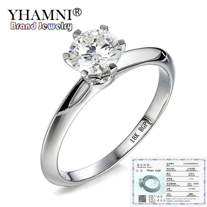 مع شهادة فاخرة 6MM 1 قيراط سونا الزفاف خاتم الماس 18K خواتم الذهب للنساء الجميلة مجوهرات هدية