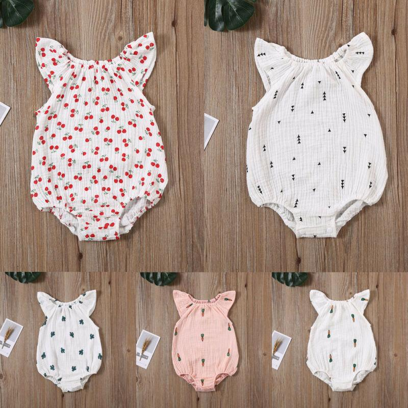 Baby Girls Romper Summer Turn-Down Collar Infant Newborn Cotton Clothes for 0-2Y Toddlers Outfits