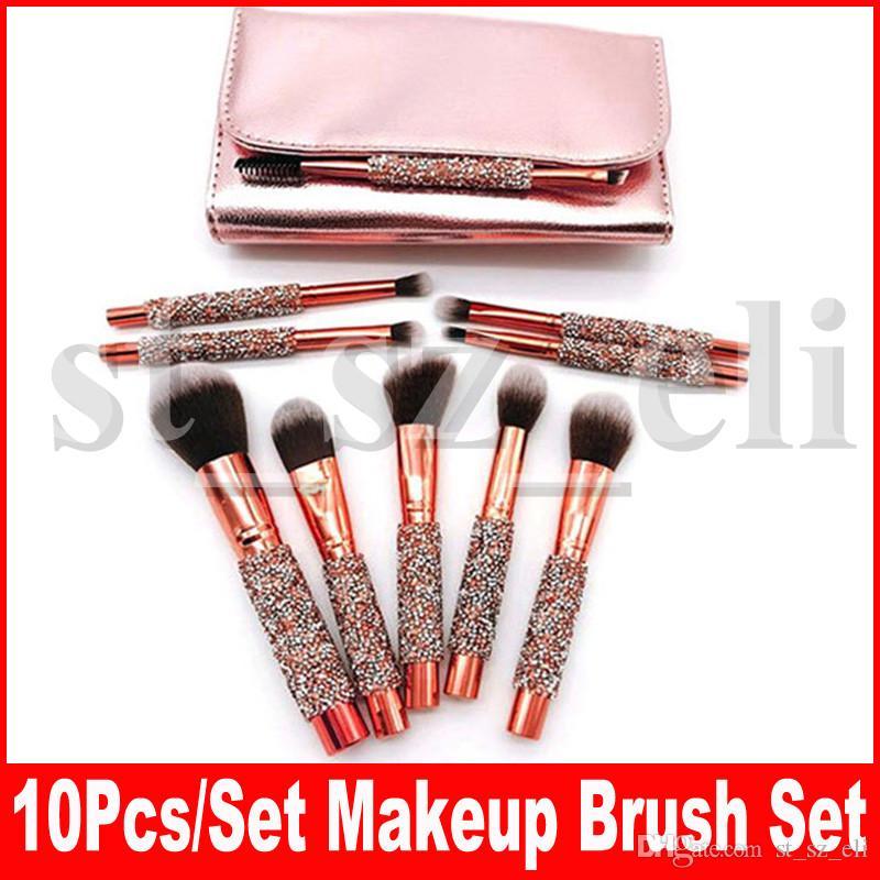 Pinceaux de maquillage 10pcs luxe diamant brosse avec sac cosmétiques Kit pinceaux pour le visage et les yeux fard à paupières eyeliner sourcils poudre de base brosses