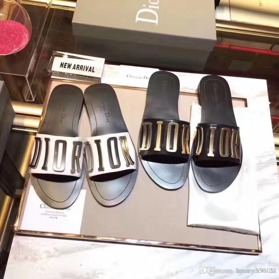 2019 Sandálias Designer de Slides de Alta Qualidade Slides Sapatos de Grife Designer Huaraches Chinelos Mocassins Para mulher com caixa por shoe01