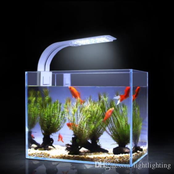 Super brillante LED Acuario Iluminación LED Plantas Grow Light 5W / 10W / 15W Lámparas de agua dulce acuáticas Clip impermeable en la lámpara para tanques