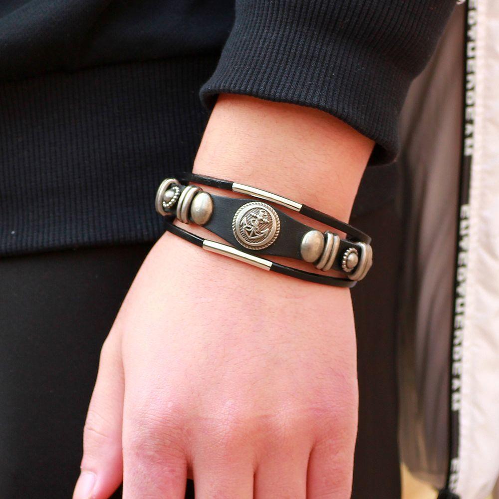 2019 Новый Многослойные Anchor Кожаный браслет Браслеты Мода серебряного сплава Металлический браслет для мужчин женщин Cuff браслет подарка ювелирных изделий