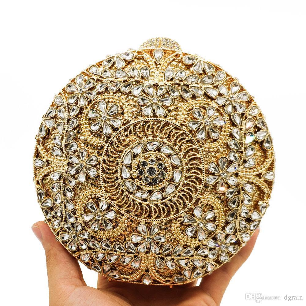 Neueste Kreis Abendkristallbeutel-goldene Steine Strass-Handtasche Weibliche Partei Handtasche Hochzeit Minaudiere Clutch Brauthandtaschen Portemonnaie