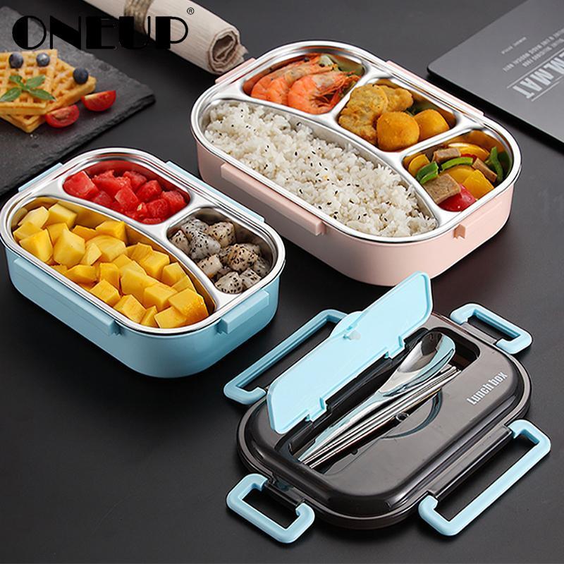 Taşınabilir 304 Paslanmaz Çelik Lunch Box Japon Stili Bölme Bento Box Mutfak Sızdırmaz Gıda Konteyner Microwavable