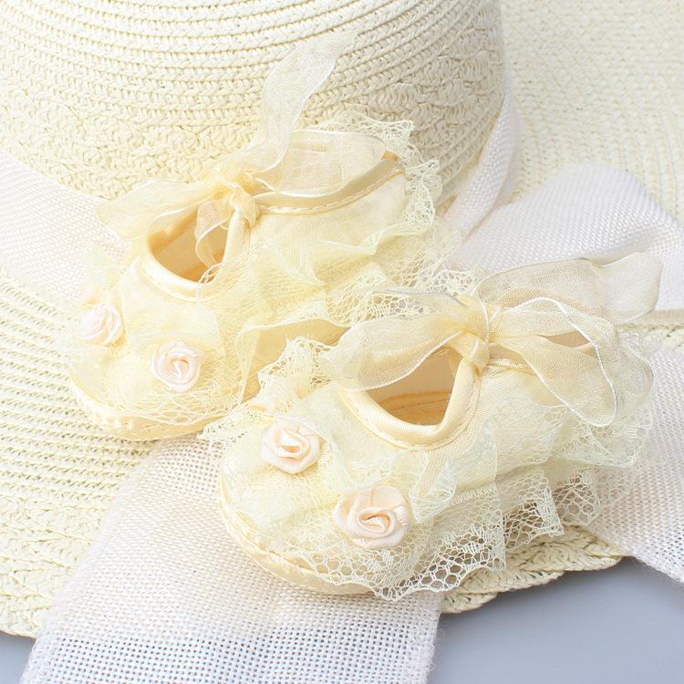 Prenses Parti Dantel Çiçek Yumuşak Sole Beşik Yenidoğan Bebek Kız Ayakkabı Kaymayan Sneaker Prewalker Bebek Çocuk 0-18M Dropship Ayakkabı