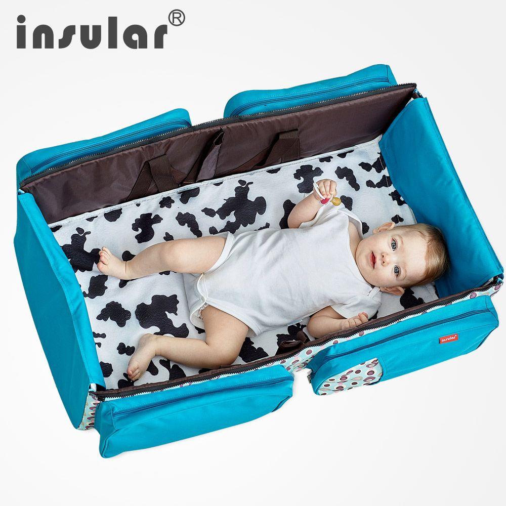 Mochila multifuncional del pañal del bebé Mamá plegada Bolsa de maternidad Gran volumen Mamá Bolsas de pañales Bolsas de viaje al aire libre de enfermería Saco de dormir para bebés