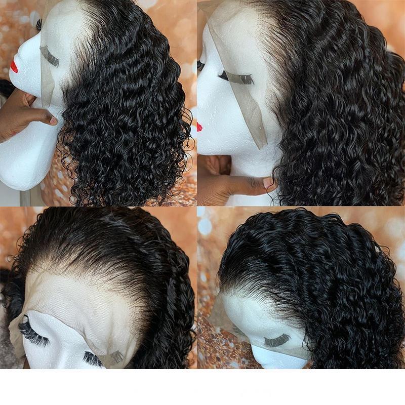 13x4 avant de dentelle courte perruque perruques de cheveux humains brésilienne Dentelle Frontal perruque avec bébé cheveux ondulés bouclés Bob 250 Densité Dolago Remy