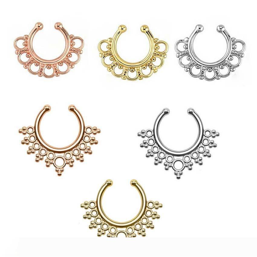 2020 Clip On Nose Rings Studs Fake Nose Ring Unisex Punk Non