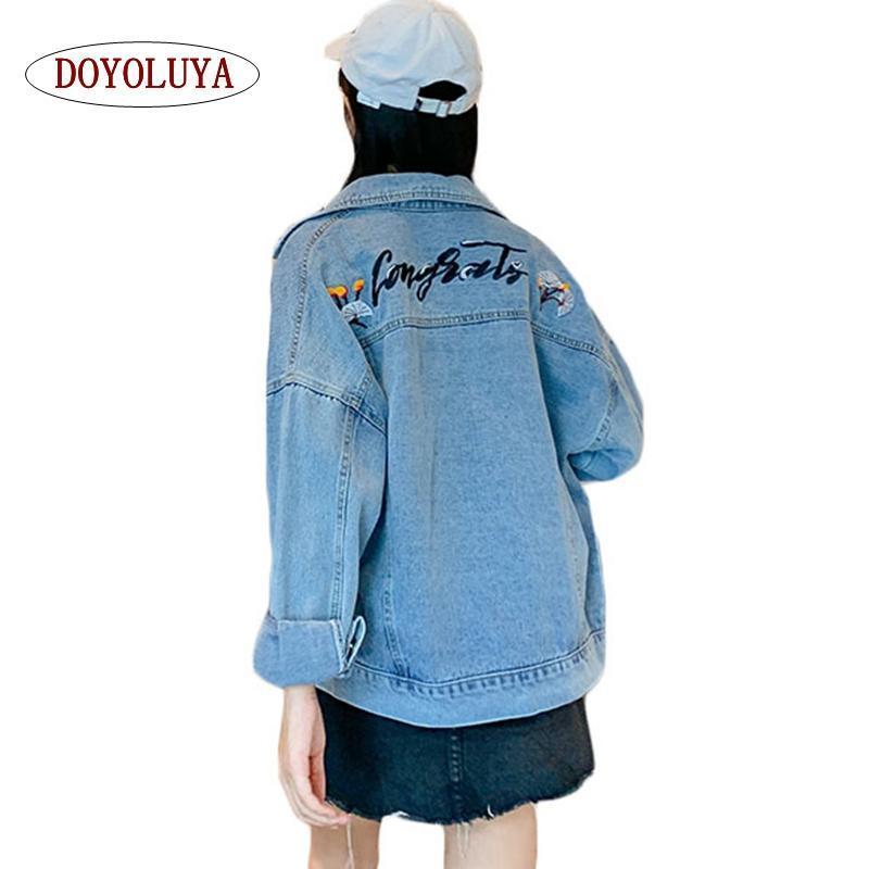 Джинсовая куртка женщины 2019 Осень Зима Свободные с длинным рукавом вышитые однобортные джинсы короткая верхняя одежда повседневное пальто