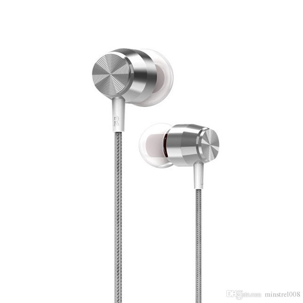 3,5 mm para auriculares con cable en la oreja estéreo headset música Smart Phone auricular del metal del auricular manos libres con micrófono de control en línea
