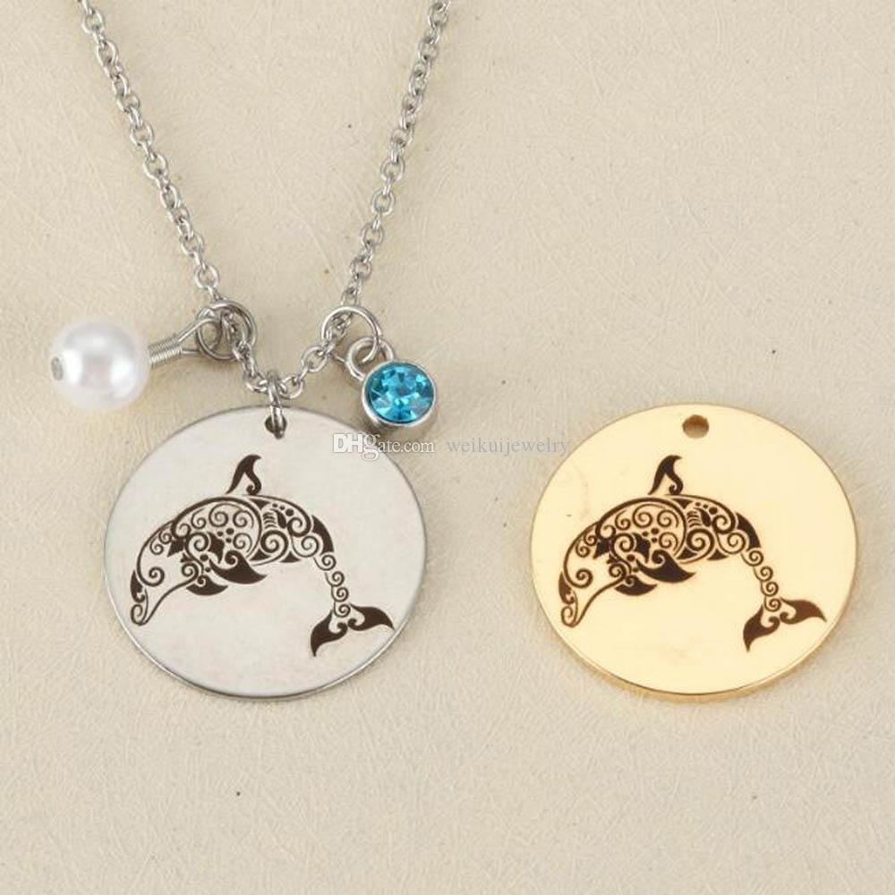 Colgante de perlas de acero inoxidable de plata redondo collar de perlas collar de cristal joyería de moda para las mujeres regalos de la joyería
