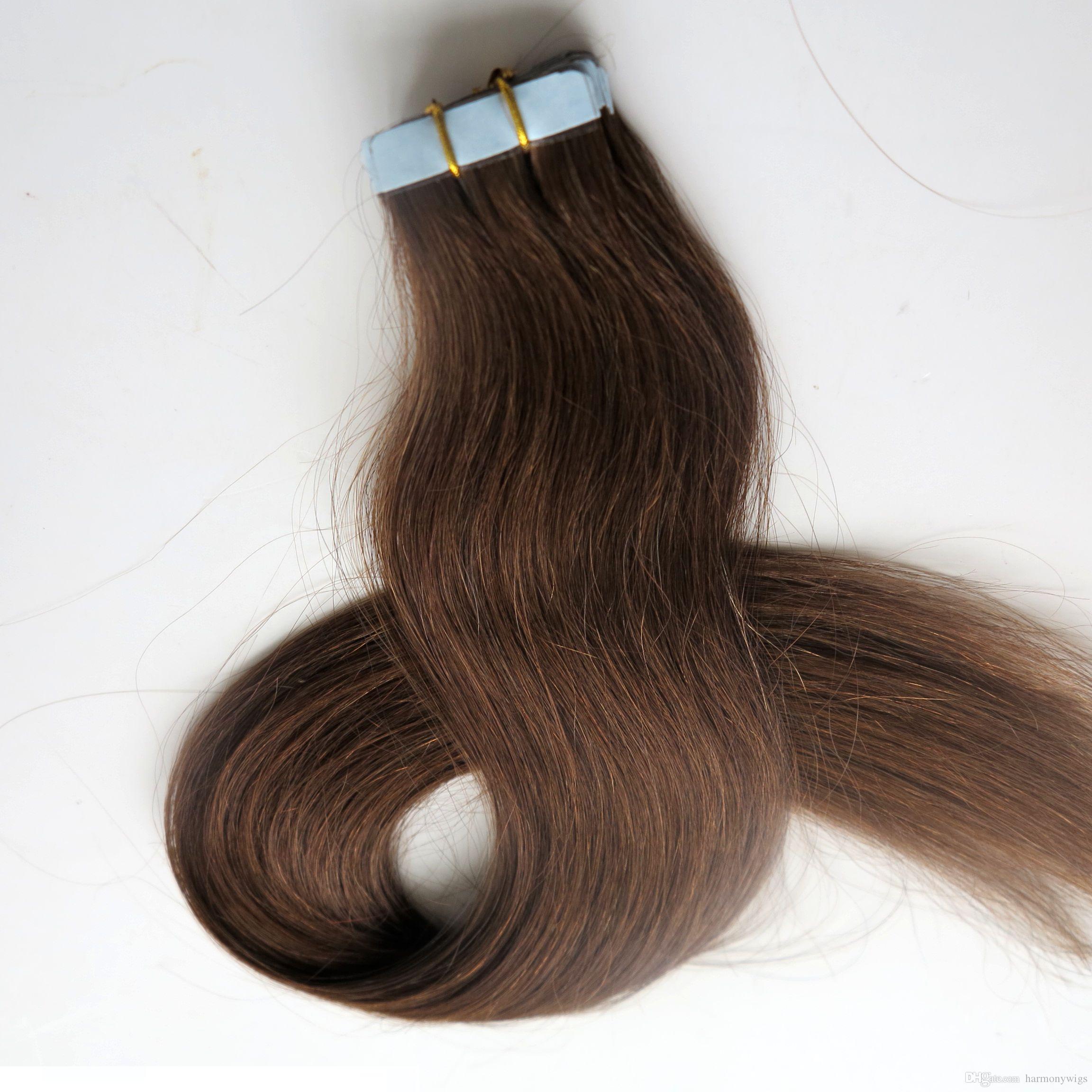 Высокое качество 50 г 20шт лента в наращивание волос клей утка кожи бразильский Индийский человеческие волосы 18 20 22 24 дюйма #4 темно-коричневый