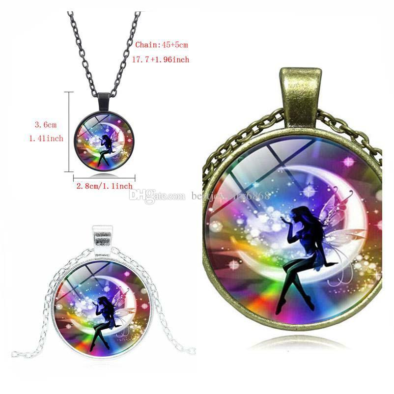 Rainbow Fairy Tale Necklace New Arrivel Time Gem Cabochon Pendant Necklace Fashion Sweater Chain Accessories Free Shipping