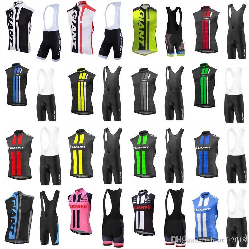 equipa GIGANTE Ciclismo mangas camisa Vest (bib) calções conjuntos de Homens Ao Ar Livre MTB corrente de bicicleta equitação Roupa bicicleta Sportwear C627-89