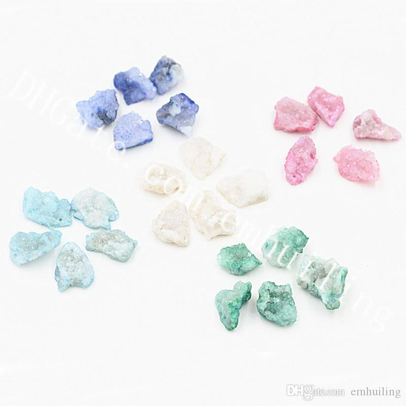 20Pcs 10-20mm Mini Freeform Dyed Agate Druzy Geode Bead Drilled Rough Drusy Loose Gemstone Beads Pendants for Crystal Earring Jewelry Making