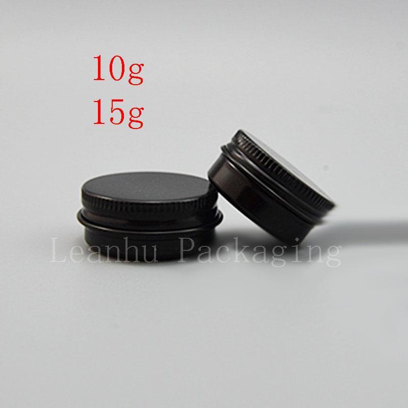 10g 15g Mini Nero Alluminio vasetto di crema cosmetica Esempio Tin Lip Balm piccolo contenitore di metallo Pot, bottiglie di alluminio 100pc / lot