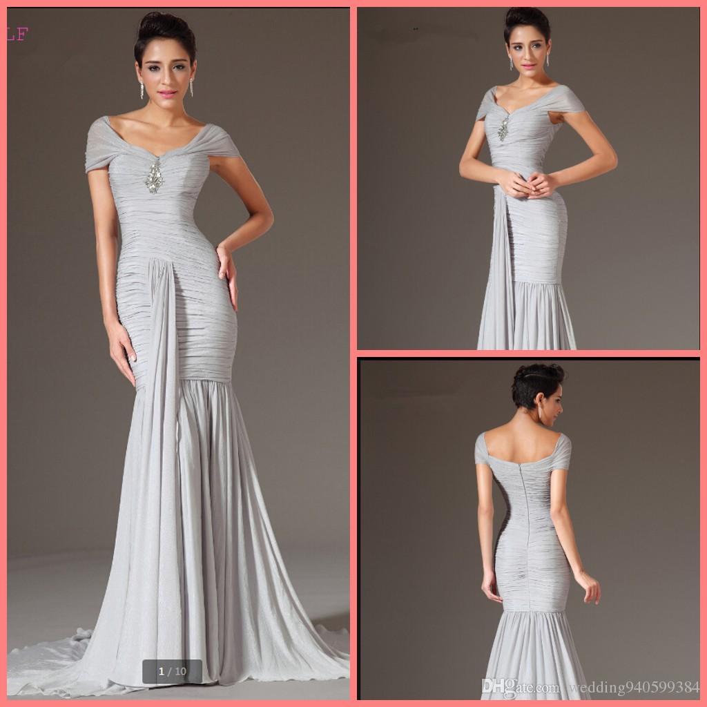 Vestidos de noche plisado moldeado de plata 2019 Tamaño de la sirena V-cuello de la gasa de las mangas del casquillo Plus largo del vestido de noche vestidos de baile del traje de soirée