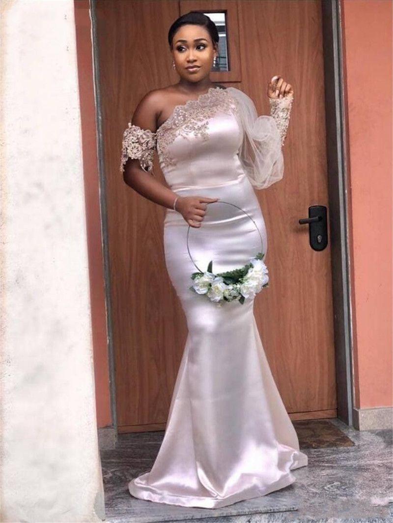 2020 아프리카 스타일 한 어깨 환상 긴 소매 레이스 새해 그림 새틴 인어 신부 들러리 드레스 웨딩 파티 신부 들러리 드레스