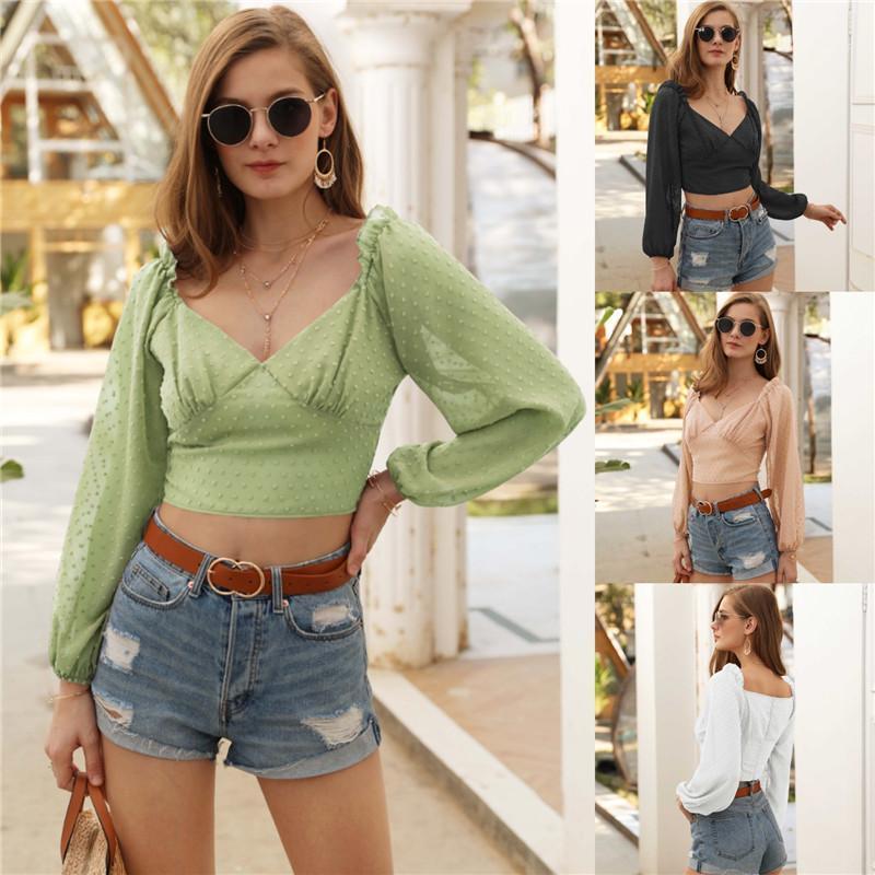 Tops con paneles de moda del lunar de impresión Tops de la linterna de la manga V del cuello de la blusa pura del color del diseñador camisetas para mujer