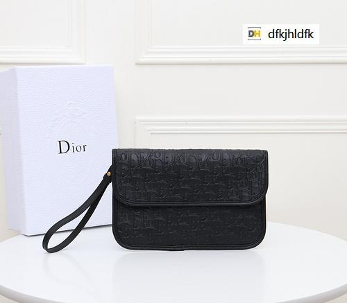 DYZ8 1055 clutch bag pure black REAL LEATHER Compact Long Wallets Chain Wallet Pouches Key Card Holders Phone Cases PURSE CLUTCHES EVENING