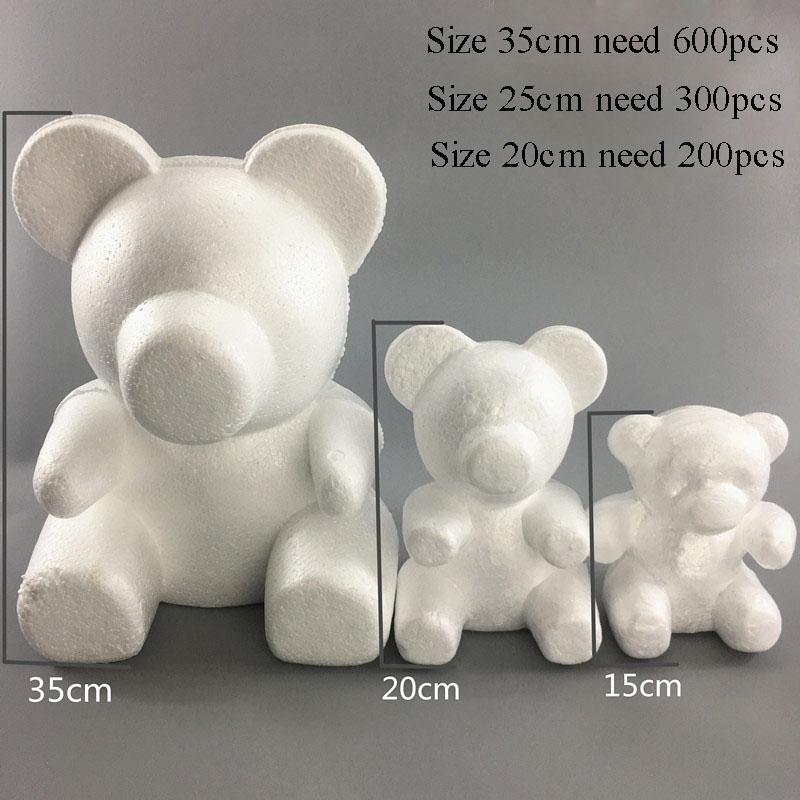 15/20/35CM Modeling Polystyrene Styrofoam White Bear Foam Balls Crafts For DIY Christmas Gifts Party Supplies Decoration