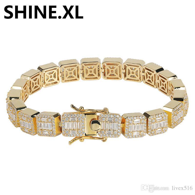10MM مثلج خارج سوار التنس كامل زركونيا الذهب والفضة يخطط رجل الهيب هوب مجوهرات 1 صف مكعب الرجال الفاخرة أساور