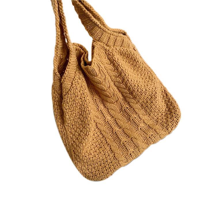 New mulheres elegantes cor sólida Lã Shoulder Bag Ladies estilo simples malha oco Bolsa Casual Feminino Saco Mummy