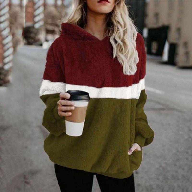 Womens Designers Painéis Casual Contraste Hoodies solto Womens Plush Roupa Moda Quente Tops Ladies Outono-Inverno