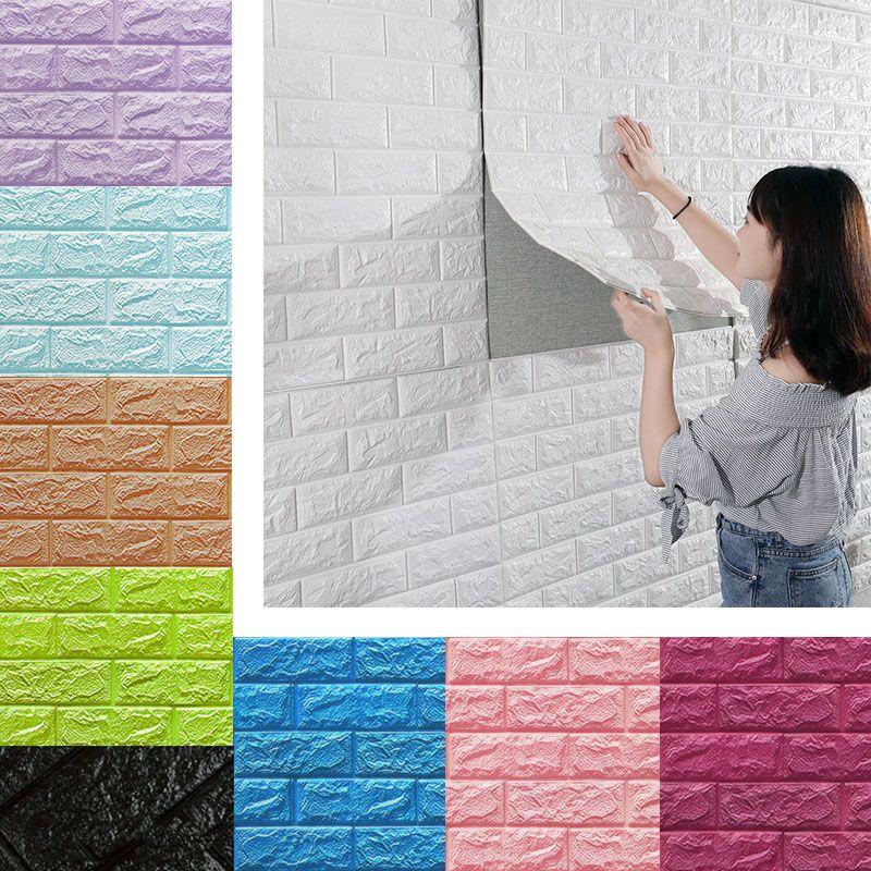 Adesivi murali 3D Imitazione Brick Bedroom Decor Decor Impermeabile Carta da parati autoadesiva per soggiorno Cucina TV Sfondo Decorazione