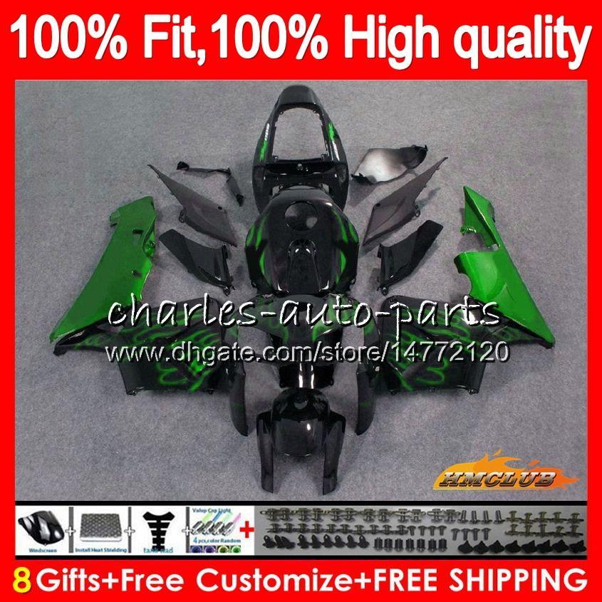 HONDA CBR 600RR 600F5 CBR 600 RR yeşil alevler için% 100 Fit Enjeksiyon F5 05 06 80HC.46 CBR600F5 CBR600 RR CBR600RR 2005 2006 05 06 OEM Fairing
