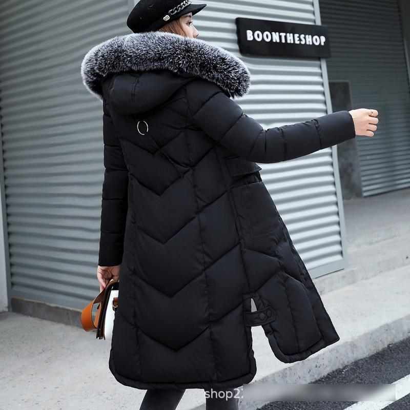 preto das mulheres Inverno manga comprida Down Jacket Coats 2019 Moda Feminina Windbreaker Fur com capuz pano de Natal