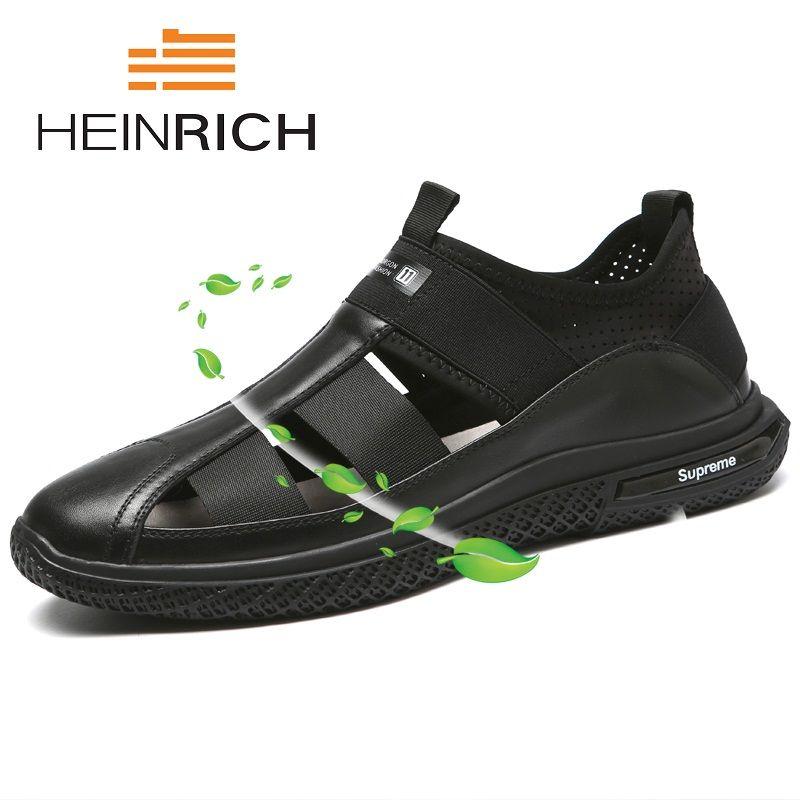 HEINRICH High Quality Rome Summer Men Genuine Leather Sandals Flat Non-Slip Comfortable Breathable Sandals Soft Bottom Men Shoes