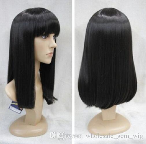 WIG LL HOT sell Free Shipping >>>> Fashion Black Medium Straight Female Women's Synthetic Wig