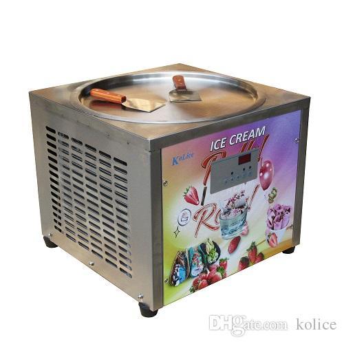 상업 45cm 아이스 팬 카운터 탑 롤 아이스크림 기계 자동 제상, Samrt AI Temp.Controller의 PCB와 아이스크림 기계
