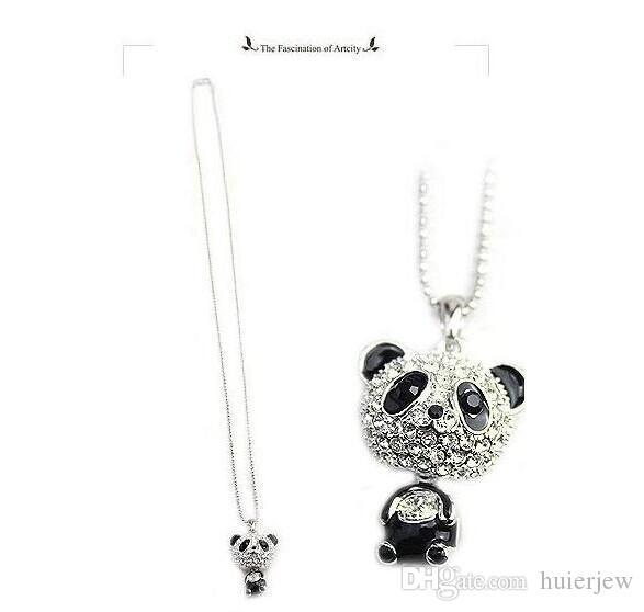 Colar de pingente de mulheres imitação de diamante camisola lindamente cadeia colar bonito feminino panda jóias cadeia colares