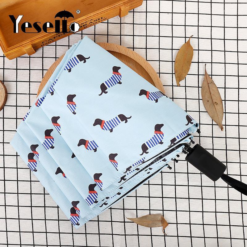 Ombrello tascabile a forma di ombrello di cane a strisce Yessello tre pieghevoli partito fresco cane striatura parasole ombrelli pieni di sole pieni di sole donne Y19062103