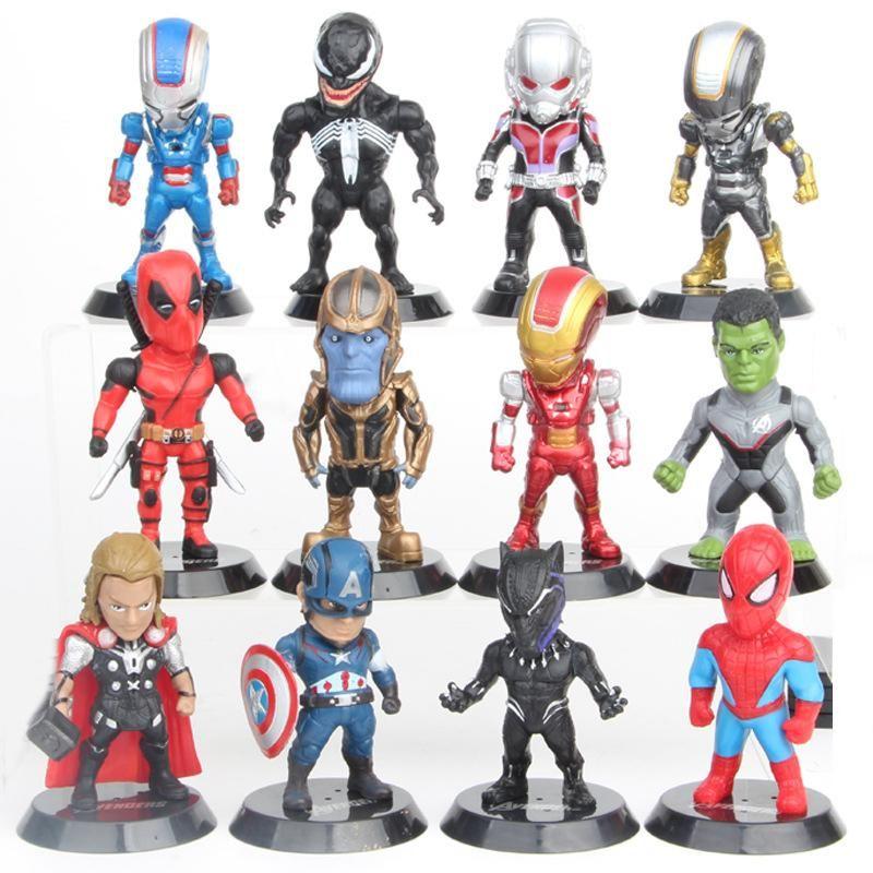 12 шт./лот 7-10 см Мстители набор супергерой Бэтмен Тор Халк Капитан Америка действие смолы модель фигурки куклы Marvel игрушки оптом