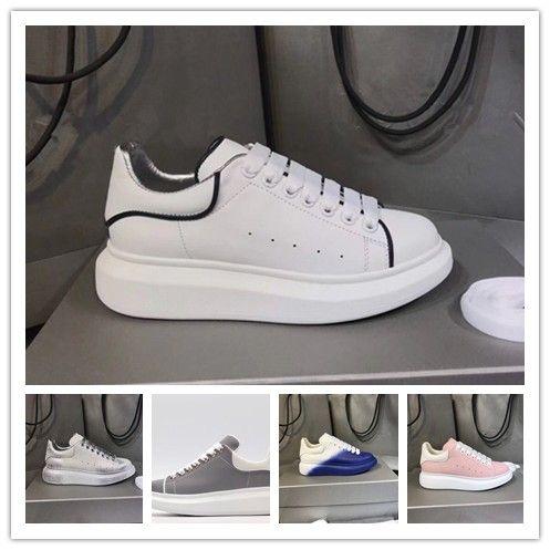 2019 Chaussures Designer de luxe des femmes des hommes réfléchissant 3M formateur Triple blanc en cuir plate-forme Flat Sneaker Party Casual Marque Sport Q77