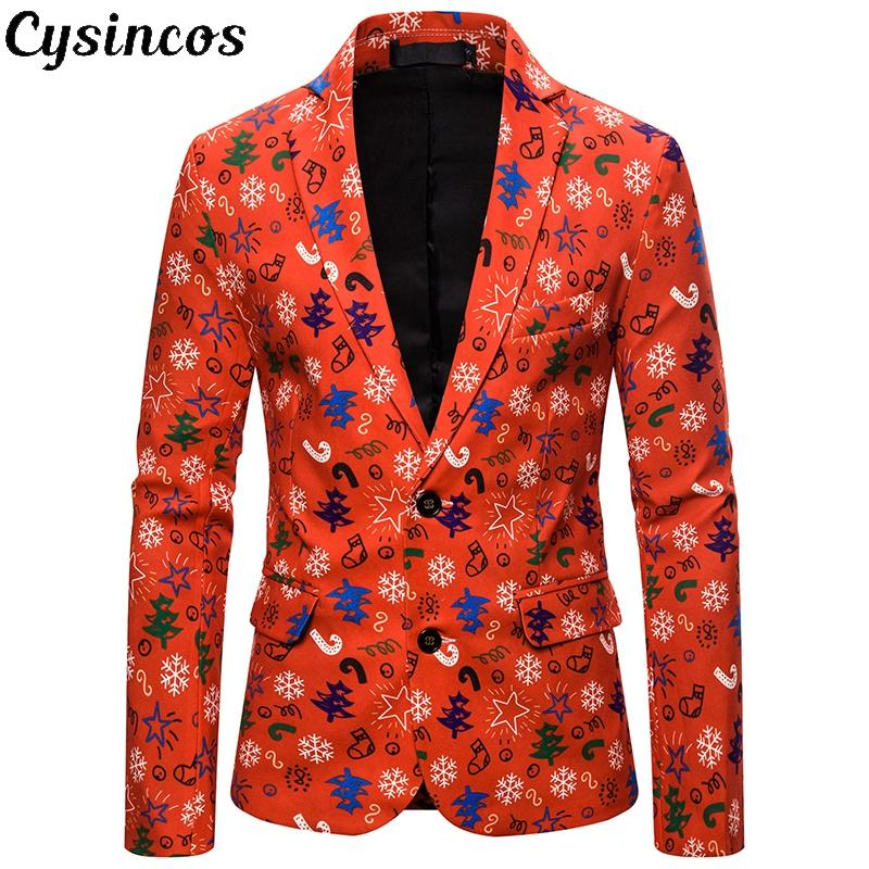 CYSINCOS Male Floral Jacket Suit Painting Mens Blazers Fashion Buttons Suits Coat Christmas Slim Fit Party Christmas Blazers